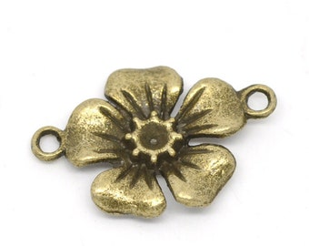 8 Flower Connectors - Antique Bronze - 27x18mm - Ships IMMEDIATELY from California - BC796