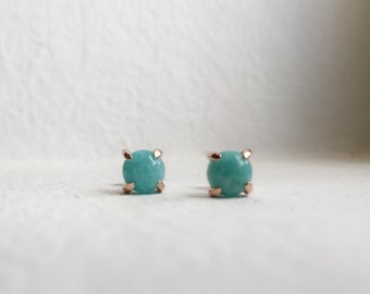 NEW Simple Everyday Earstuds - Amazonite Earrings, Bridesmaids Gift, Gifts for Her