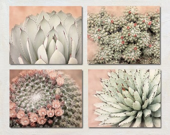 Cactus Art Set of 4 Prints, Four Photograph Set, Succulent Artwork Series, Boho Pictures, Nature Photography Collection, Green and Peach Art