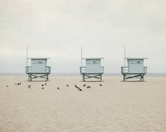 Modern Beach Photography, Lifeguard Tower Picture, Minimalist Photograph, Brown and Grey Wall Art, Los Angeles Photo, California Decor