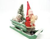 Vintage Santa in Sleigh with Sheep & Bottle Brush Christmas Tree