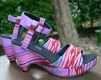 Vegan Womens Sandals, Cut Out Wedge Heel In Hand Woven Purple Karen Textiles - Chelsea, FREE Shipping