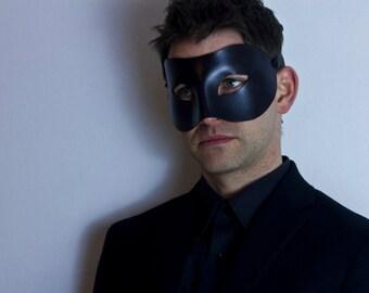Men's Plain Black Italian Leather Half Venetian Masquerade Mask