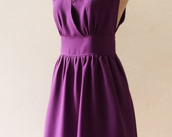 Purple Bridesmaid Dress Fit and Flare party Dress, High Neck Elegant Wedding Party Dress, Purple Prom Dress Evening Dress - XS-XL,custom