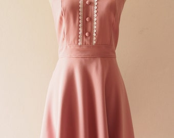 VIENNA - Midi Dress Dusky Pink Bridesmaid Dress Pink Tea Dress Nude Pink Party Dress Vintage Inspired Dress Swing Dress