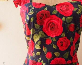 Size S Vintage Sundress Rose Floral Dress Vintage Modern Dress Summer Dress