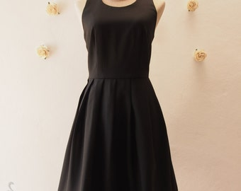 Little Black Dress Black Vintage Modern Sundress Backless Dress Cut Off Back Dress Black Party Dress Black Summer Dress