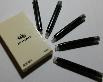 Fountian Pen Ink Cartridge Refills, Black Ink, Fits Fountian Pens Sold Here, One Box Of 5 Refills Per Order