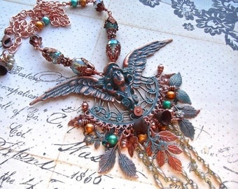 Aqua Copper, Winged Maiden, Multi Charm, Masthead Maiden, Leaf Floral Charm, Czech Crystal, Steampunk, Statement Necklace
