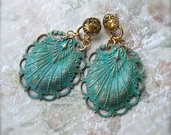 Verdigris Patina Shell, Large Brass Earrings, Large Shell Post, Verdigris Shell, Statement Earrings, Art Nouveau