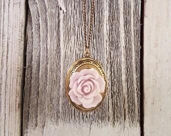 Vintage Inspired Pale Violet Rose Locket Necklace