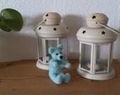 Teddy bear needle felted turquoise miniature handmade home decor gift under 25