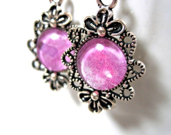 Silver and Pink Filigree Dangle Earrings