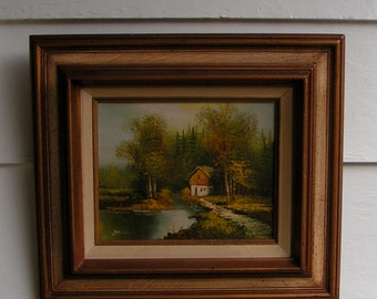 1980s Autumn Scene OIL PAINTING Dual Framed Gold Leaf