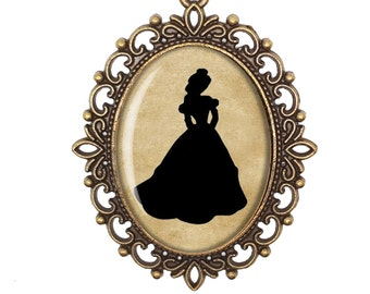 Belle Beauty and the Beast Disney Princess Silhouette Fairytale Victorian Cameo Large or Small Handmade Bronze or Silver Necklace Jewellery