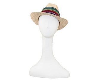 Vintage Straw Hat, Woven Rainbow Hatband, Men or Women Fedora, Sun Hat, Summer Hat