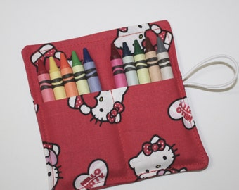 Crayon Rolls Party Favors, made from Hello Kitty fabric, holds 10 crayons, Birthday Party Favors