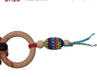Sale! Teething toy with crochet wooden oliven bead. Teething rings toy.