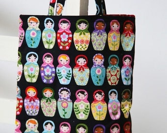 Russian Doll Lined Mini Tote Bag