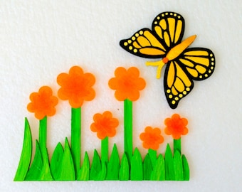 Magnets - Wall Art - Hand Oil Painted And 3D Print - Includes small pieces of Mount Tape As Alternative - Item Butterfly B_Flower A