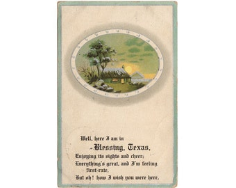 Vintage Blessing Texas Postcard, Here I am in Blessing, House Scene, Greeting Post Card, Old Correspondence, 1911 Blessing Texas Postmark