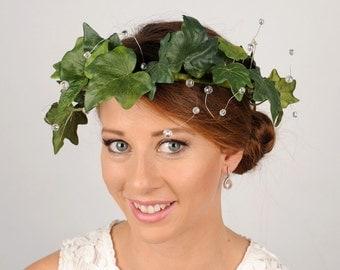 Ivy Leaf Crown, Green Flower Crown, Greenery Headband, Woodland Wedding Crown, Rustic Forest Spring Crown, Bridal Head Wreath, Headdress