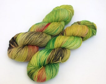 Hand Dyed Fingering, Sock Yarn, Superwash Merino Wool, Variegated, Knitting Yarn, Zombies Eat Brains