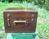 Great Mahogany Wooden Box with Fantastic Brass Hardware