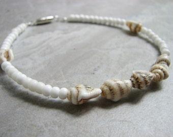 White Seashell Anklet -  Bead Sea Shell Ankle Bracelet  Beach Bride Bohemian Jewelry