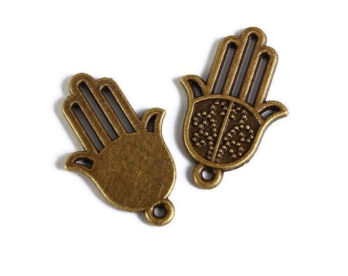 Antique brass Hamsa Symbol Hand pendant - Hand Of Fatima charm - 25mm x 16mm - Cadmium free (1759) - Flat rate shipping