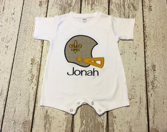Saints baby romper, Saints black and gold boys romper, New Orleans Saints boy romper, new orleans saints baby outfit