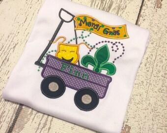 Mardi Gras Shirt, Boys Mardi Gras Shirt, Mardi gras wagon shirt, Boys parade shirt, baby parade shirt, baby mardi gras shirt, mardi gras top