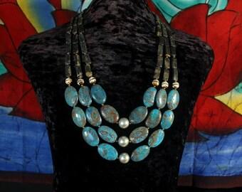 Chunky Bead Turquoise Necklace, Ethnic Jewelry, Jasper, Dzi Multi Strand Necklace, Boho, Statement, Tribal Necklace, Ancient Jewelry