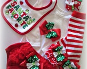 Baby girl CHRISTMAS outfit, SANTAS FAVORITE Complete Christmas set Newborn to 9 month Baby Girl Christmas clothing set, Baby Christmas gift