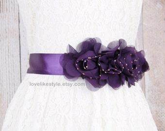 Plum  Beaded Flower with Satin  Ribbon Sash, Bridal  Sash, Bridesmaid  Sash, Flower Girl Plum Flower sash  / SH-41