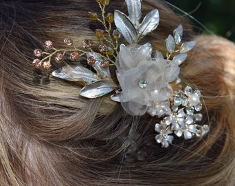 Crystal Bridal Comb,  Swarovski Crystal Comb, Champagne Headpiece, Flower Hair Clip