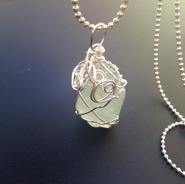 Aquamarine Necklaces: Raw Aquamarine Necklace Aqua Green Stone Pendant Raw Stone