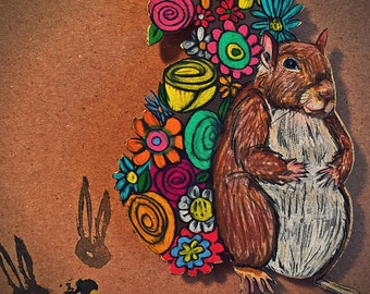 Hand Drawn Squirrel with Flower Tail Magnet