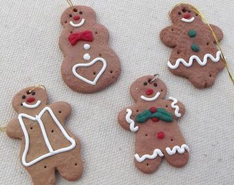 4 resin miniature gingerbread men embellishments / Christmas Craft  / winter craft / Holiday Craft / mixed media / gingerbread man