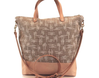 Leather Bottom Crossbody Zip Tote Day Bag - Screen printed linen