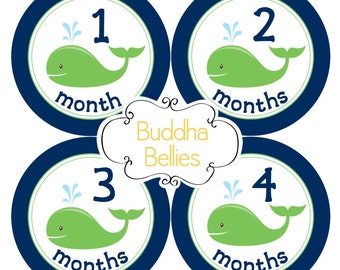 Baby Boy Nautical Month Stickers - Baby Boy Navy Green Nautical Nursery - Baby Boy Nautical Baby Shower Gift - Navy and Green Whale