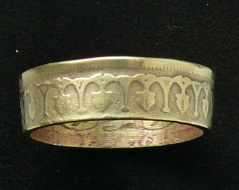 Tunisia 100 Mallim Brass Coin Ring, Ring Size 11 and Double Sided