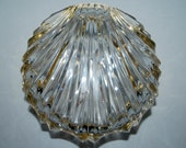 Vintage crystal shell jewerly box lead crystal with gold metal accent trim trinket box