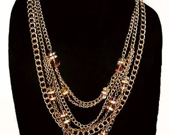 "Pink Topaz Crystal Bead Necklace 7 Strands Gold Curb Chains 22"" Boho Vintage"