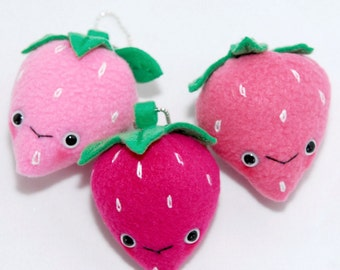 Strawberry Key Chain-Kawaii-Plush-Phone Accessories- Toy-Pink-Squishy-Geek-Christmas Gift-Birthday Gift-Fairy Kei-Charms