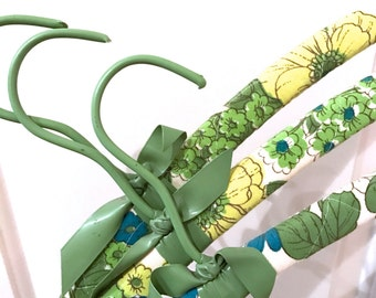 Vintage Set of 3 Green Yellow Blue Floral Quilted Simple Wooden Hangers basic wood shirt hanger painted patina STANDARD size