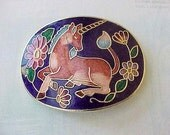 Pretty Vintage Enameled Jewelry Finding with Unicorn
