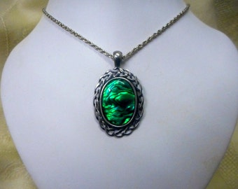 Green paua shell Pendant necklace chain Gothic Victorian Scottish Celtic healing natural black stone new age jewelry womens accessories