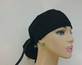 Ponytail Medical Scrub Cap - Plain Black - 100% cotton