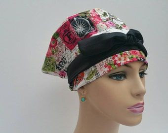 Handmade Woman Surgical Cap -  Wish You Were Here - Paris Love - Rose Pink - 100 % Cotton